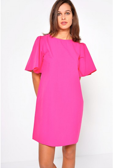Juliani Flute Sleeve Dress in Pink
