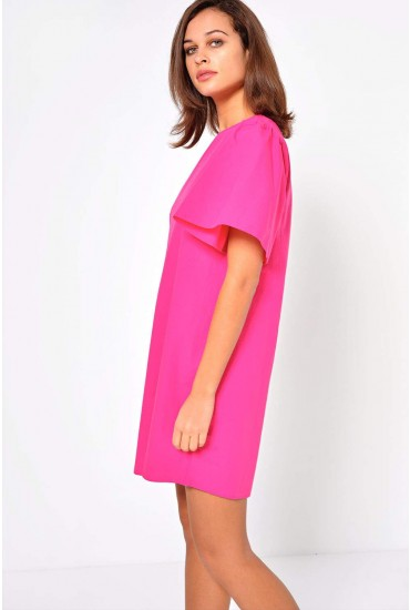 Juliani Flute Sleeve Dress in Pink