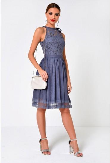 Zinna Halterneck Short Dress with Crochet Lace in Grey