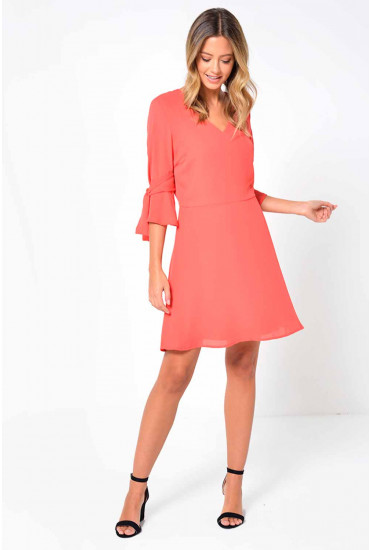 Simmie 3/4 Short Dress in Coral