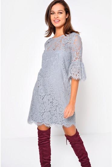 Doreena Lace 3/4 Sleeve Lace Dress in Grey