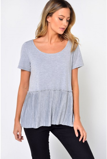 Pliss S/S Top in Grey
