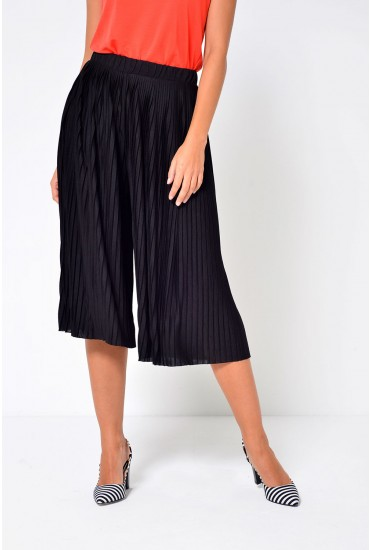 Pliss Culottes in Black