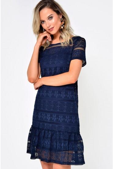 Itta Peplum Hem Crochet Dress in Navy