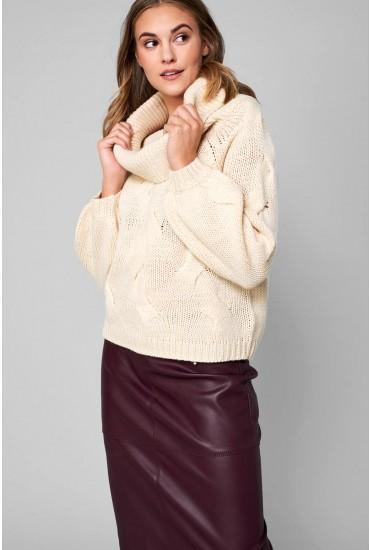 Cabla Off Shoulder Knit Jumper in Cream
