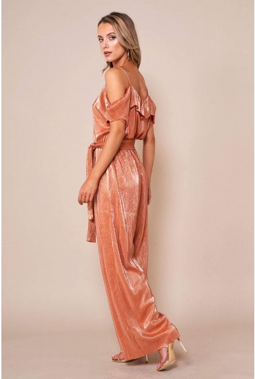 Parta Cami Tie Jumpsuit in Rose Gold
