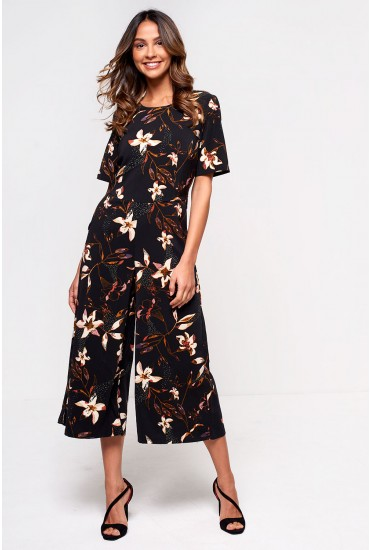 Melis Cropped Floral Jumpsuit in Black