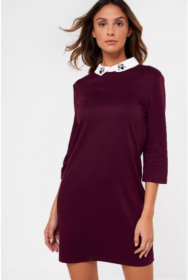 Maiely Embellished Neck Tunic in Wine