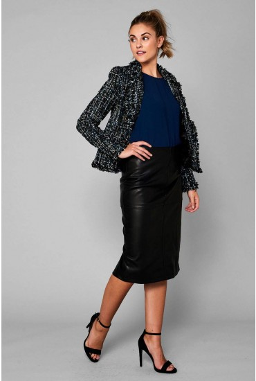 Pen Faux Leather Midi Pencil Skirt in Black