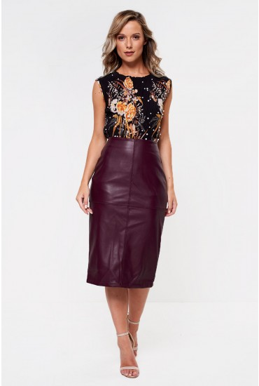 Pen Faux Leather Midi Pencil Skirt in Wine