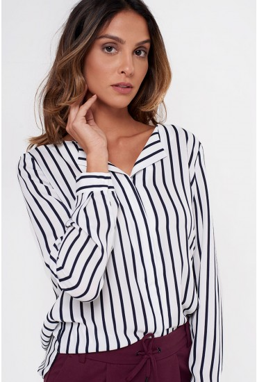 Lucy Long Sleeve Shirt in white with Black Stripe