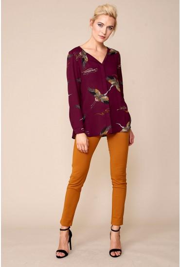 Lucy Long Sleeve Shirt in Bird Print