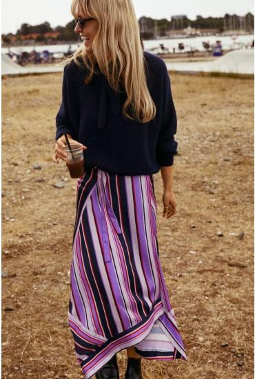 Dova Asymmetric Midi Skirt in Stripe