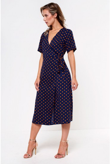 Doyle Wrap Midi Dress in Navy Polka Dot