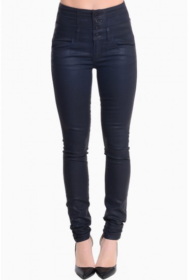 Jane Long Length Coated Trousers in Black