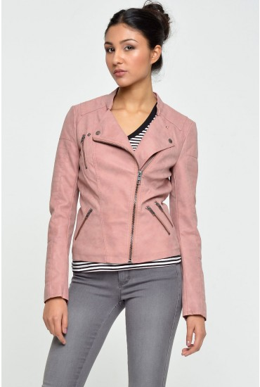 Ava Faux Leather Biker Jacket in Pink