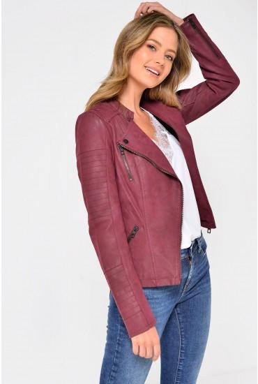 Ava Faux Leather Biker Jacket in Burgundy