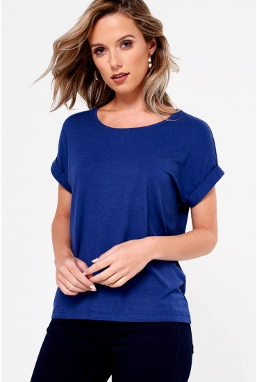 Moster Short Sleeve Round Neck Top in Blue