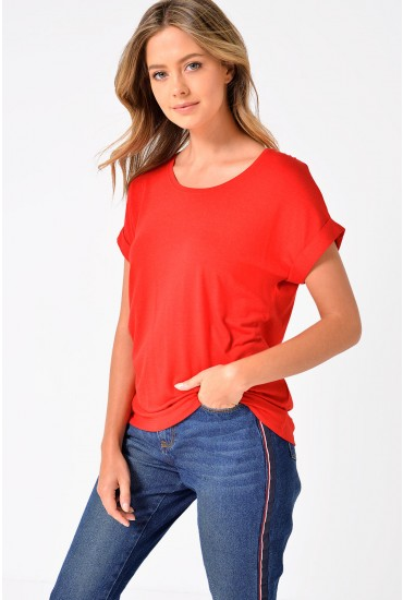 Moster Short Sleeve Round Neck Top in Red