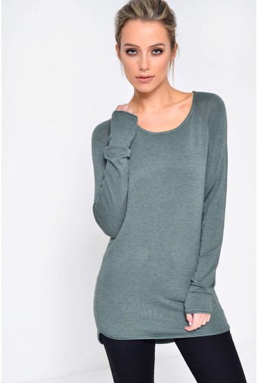 Mila Lacy L/S Pullover Knit in Green