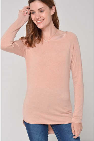 Mila Lacy L/S Pullover Knit in Peach