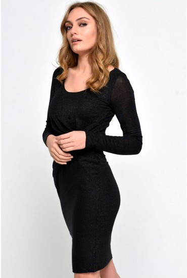 Ramona L/S Knot Dress in Black