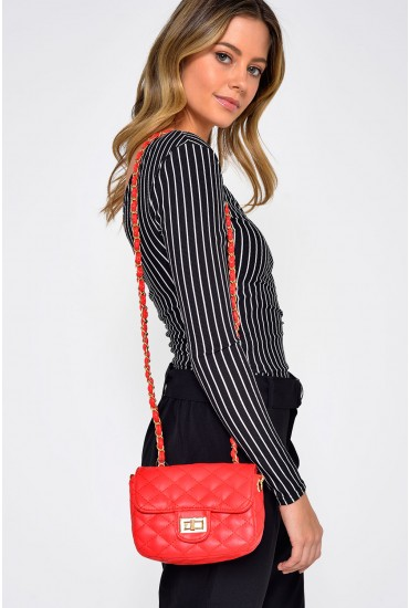 Jose Quilt PU Crossover Bag in Red