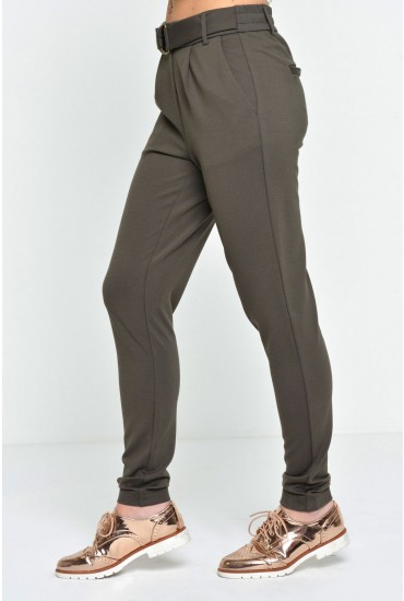 Poptrash Long Easy Belt Pants in Olive