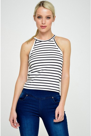 Kenya S/L Cropped Top in Navy Stripe