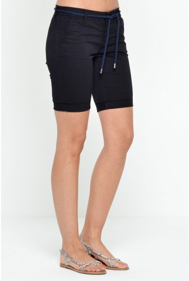 Paris Belt Shorts in Black