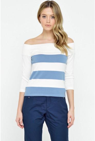 Mathilde 3/4 Off Shoulder Pullover in Blue