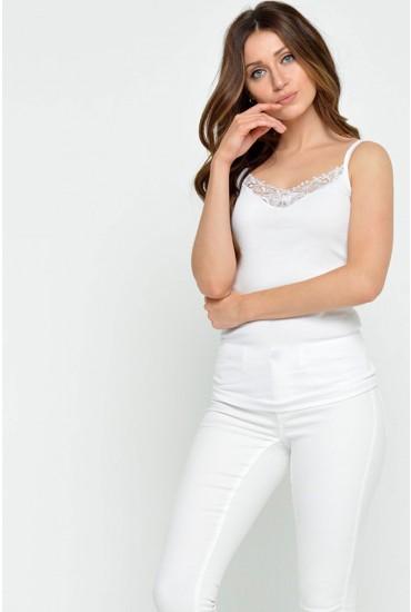 Kira Lace Singlet in White