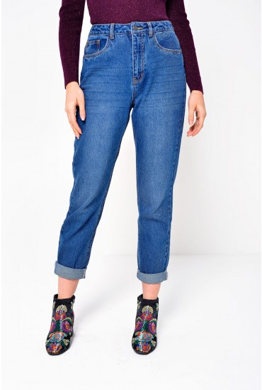 Brenda Regular High Waist Mom Jeans in Medium Blue Denim