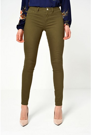 Five Low Skinny Pants in Khaki