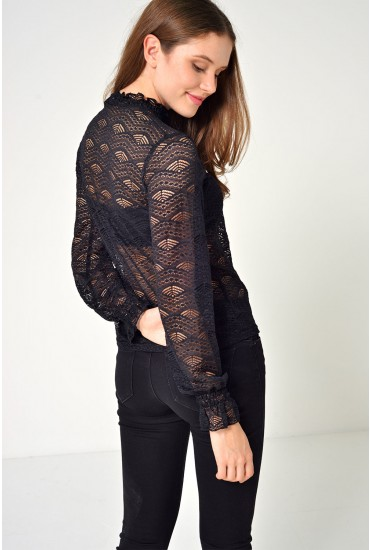Jovi Highneck Lace Top in Black