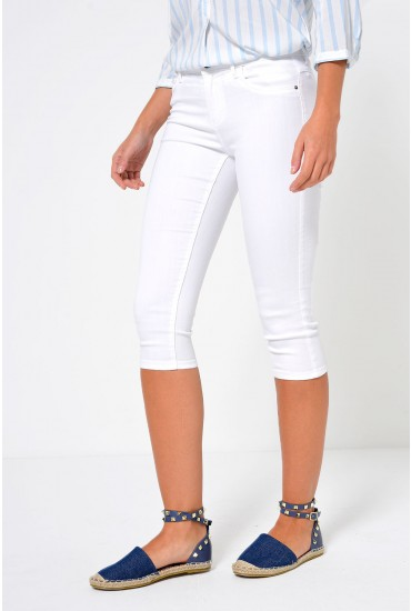 Rain Knee Length Shorts in White