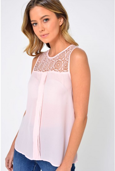 Venice S/L Lace Top in Pale Pink