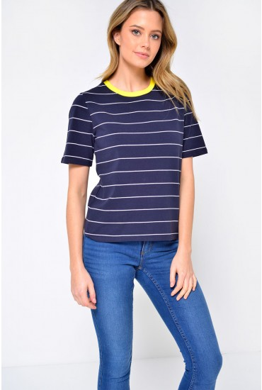 Live Short Sleeve Striped T-Shirt in Navy