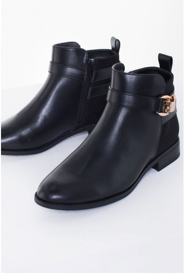 Bobby Buckle Ankle Boots in Black