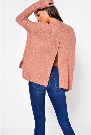 Jackie Long Pullover in Rose