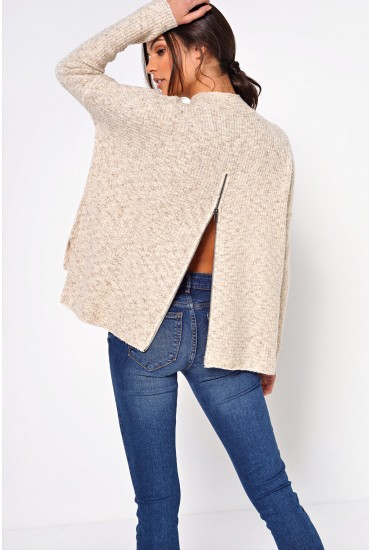 Jackie Long Pullover in Stone