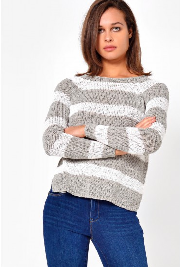 Titania Stripe Pullover in Light Grey