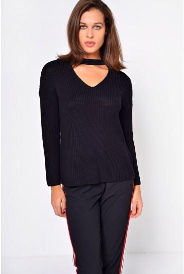 Kristi Choker Pullover in Black