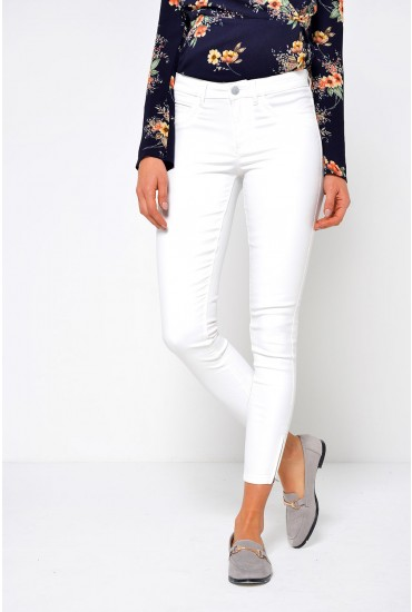 Kendell Regular Coated Pant in Off White
