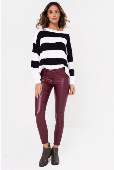 Kendell Regular Coated Pant in Burgundy