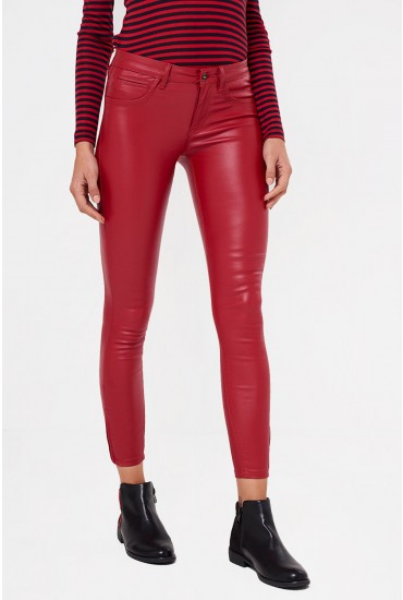 Kendell Regular Coated Pant in Red