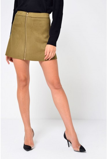 Iea Short A Line Skirt in Khaki