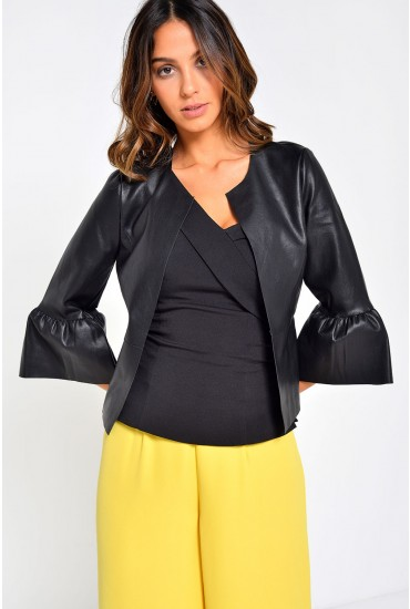 Dance Frill Faux Leather Jacket