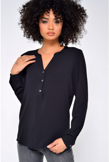 Track L/S Blouse in Black