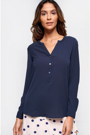 Track Long Sleeve Blouse in Navy